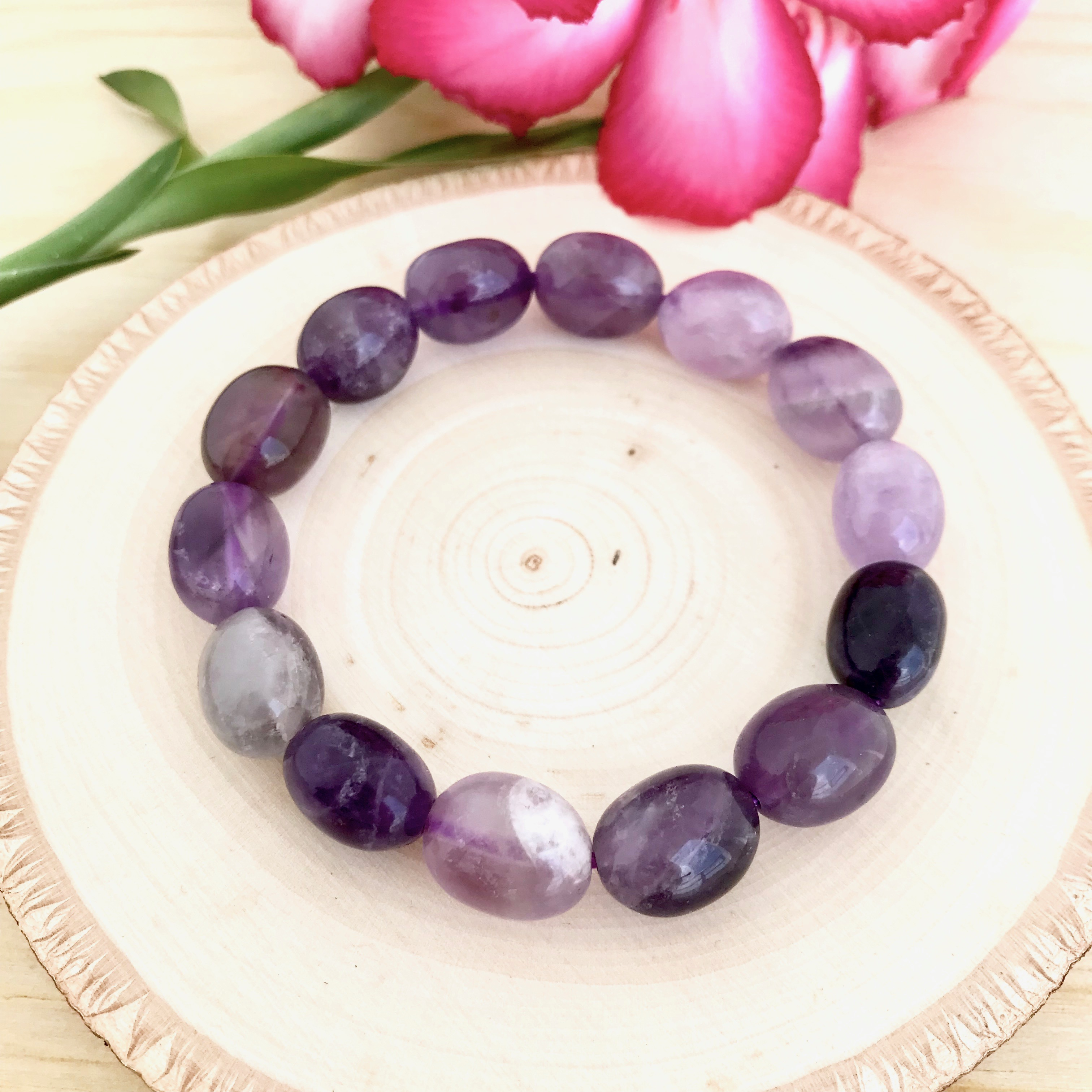 Protection, Tranquillity, Contentment - Amethyst Tumbled Gemstone Bracelet