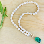 Balance Relationships, Inner Vision, Truth - River Pearl with Malachite Necklace