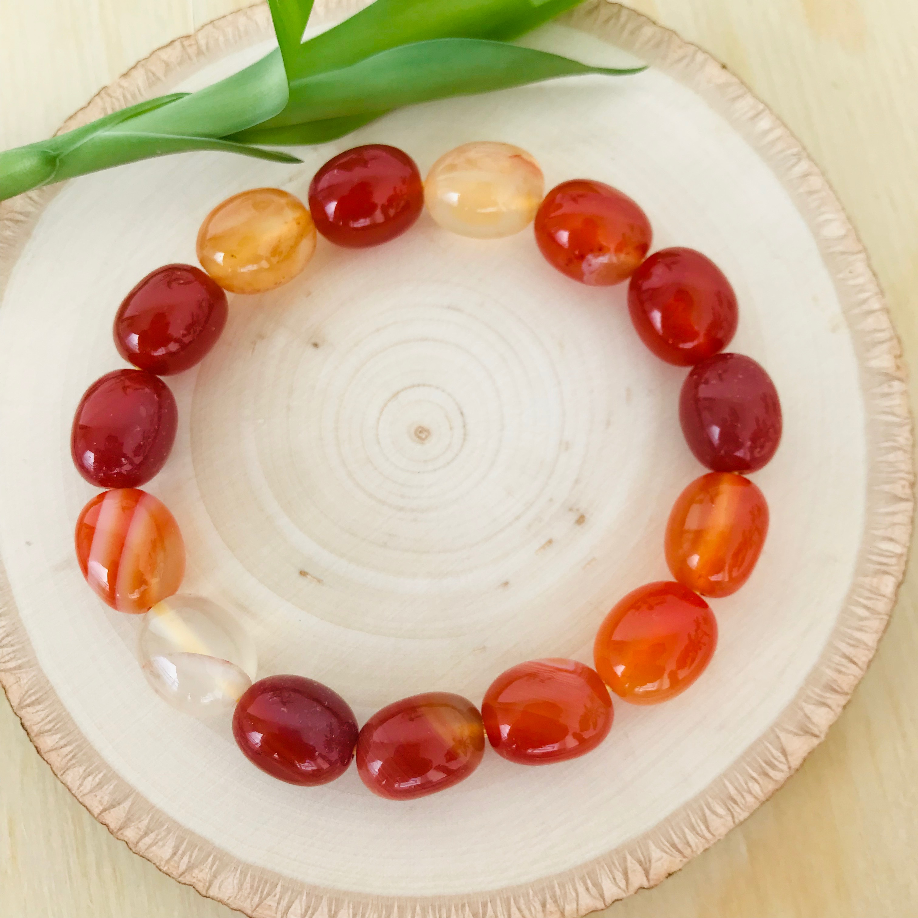 Creativity, Courage, Sexuality - Multicolor Carnelian Tumbled Bracelet