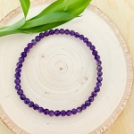 Protection, Tranquility, Contentment - Amethyst 4mm Beaded Bracelet